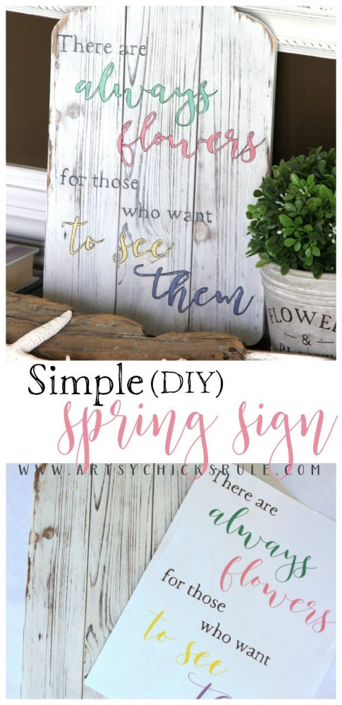 FREE PRINTABLE & Simple DIY Spring Sign Tutorial artsychicksrule.com