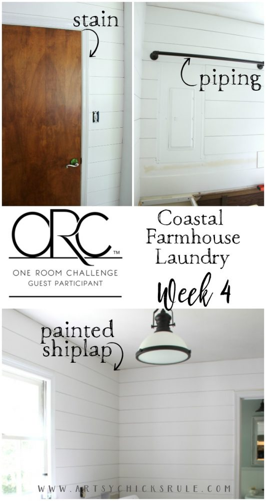 Coastal Farmhouse Laundry Progress - One Room Challenge, Week 4 artsychicksrule.com