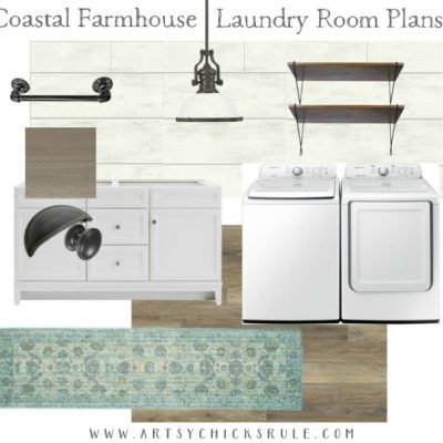 Coastal Farmhouse Laundry Plans (One Room Challenge Week 1)