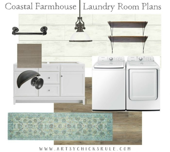 Coastal Farmhouse Laundry Reveal - moodboard artsychicksrule.com #coastallaundry #coastaldecor #coastalhome #farmhousedecor #farmhouselaundry #laundryroomideas #industrialdecor #moodboard #coastalprojects #farmhouseprojects #fixerupper