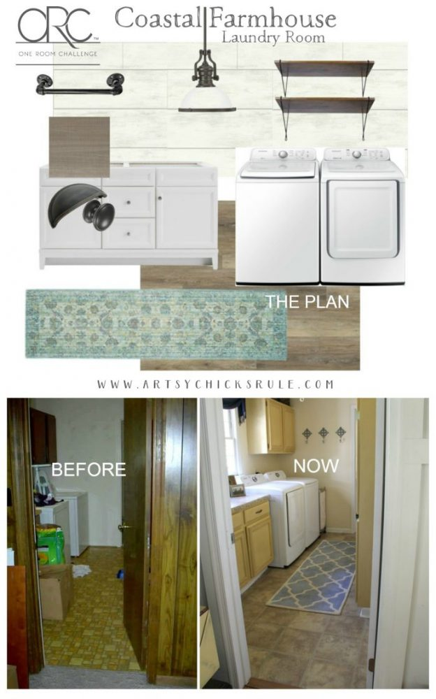 Coastal Farmhouse Laundry Room Plan - One Room Challenge, Week 1 artsychicksrule.com ORC
