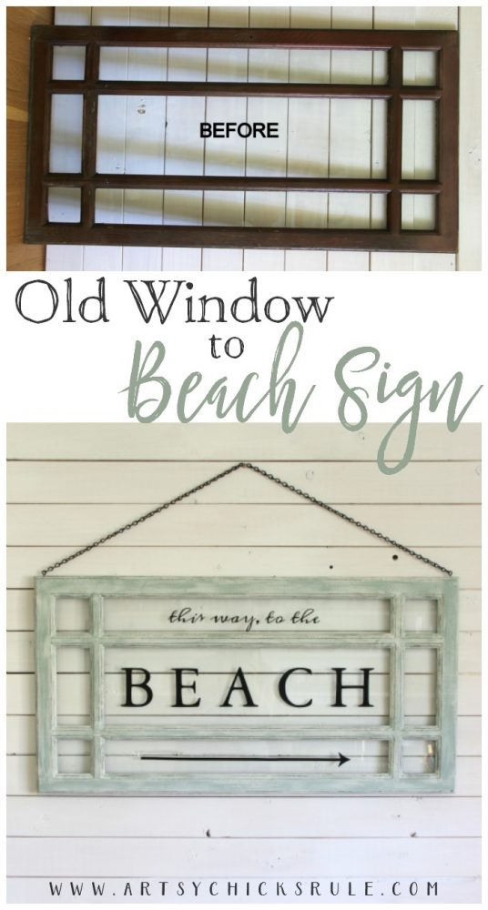 EASY DIY!! Old Window Beach Sign - Decorating with Windows - artsychicksrule.com #beachsign #silhouettesign #diysign #beachdecor #beachart #coastaldecor