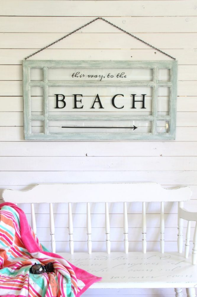 Old Window Beach Sign - Decorating with Windows - artsychicksrule.com