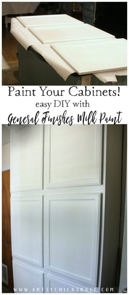 EASY DIY PROJECT! Painted Cabinets with General Finishes Milk Paint - One Room Challenge Week 2 - artsychicksrule.com