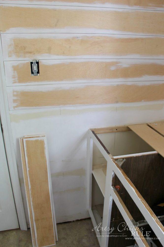 Shiplap Progress & New Lighting One Room Challenge Week 3 artsychicksrule.com