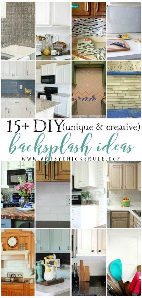 Lots of GREAT ideas!! 15+ Unique & Creative DIY Backsplash Ideas artsychicksrule.com