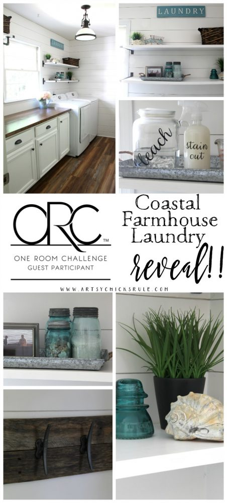 Coastal Farmhouse Laundry Reveal - one room challenge artsychicksrule.com #coastallaundry #coastaldecor #coastalhome #farmhousedecor #farmhouselaundry #laundryroomideas #industrialdecor #moodboard #coastalprojects #farmhouseprojects #fixerupper