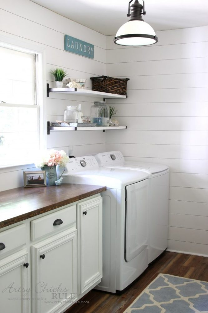 Coastal Farmhouse Laundry Reveal - DIY shiplap artsychicksrule.com #coastallaundry #coastaldecor #coastalhome #farmhousedecor #farmhouselaundry #laundryroomideas #industrialdecor #moodboard #coastalprojects #farmhouseprojects #fixerupper