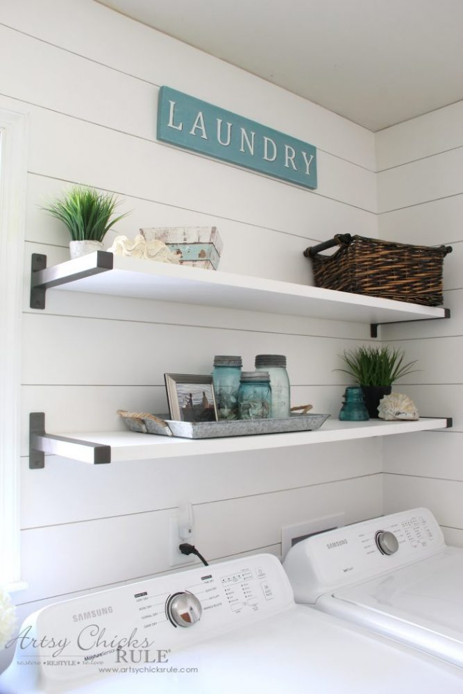 Coastal Farmhouse Laundry Reveal - industrial brackets artsychicksrule.com #coastallaundry #coastaldecor #coastalhome #farmhousedecor #farmhouselaundry #laundryroomideas #industrialdecor #moodboard #coastalprojects #farmhouseprojects #fixerupper