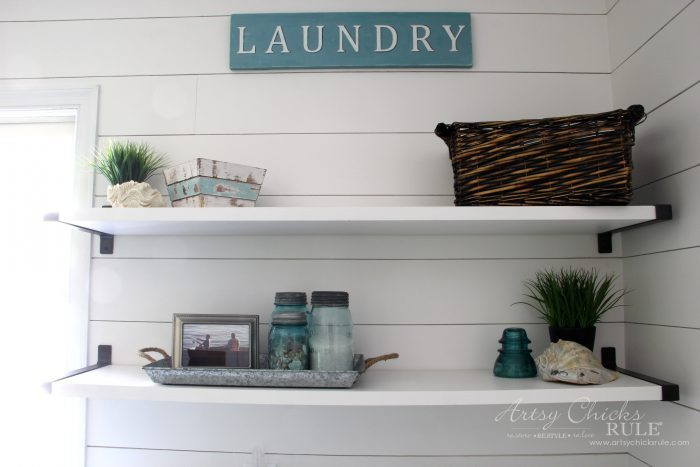 Coastal Farmhouse Laundry Reveal - more shelf decor artsychicksrule.com #coastallaundry #coastaldecor #coastalhome #farmhousedecor #farmhouselaundry #laundryroomideas #industrialdecor #moodboard #coastalprojects #farmhouseprojects #fixerupper