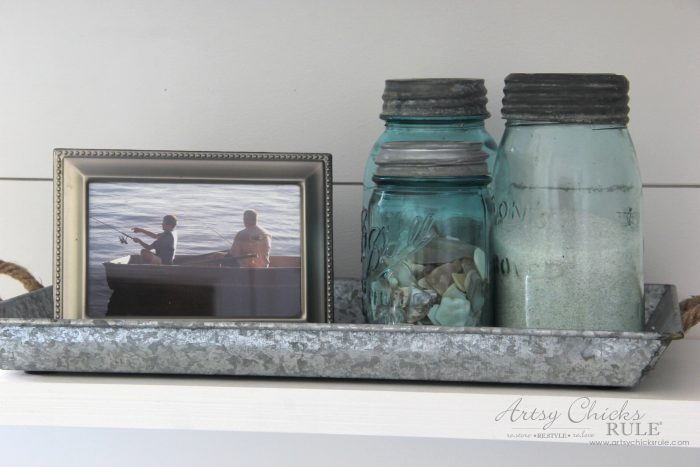 Coastal Farmhouse Laundry Reveal - blue mason jars artsychicksrule.com #coastallaundry #coastaldecor #coastalhome #farmhousedecor #farmhouselaundry #laundryroomideas #industrialdecor #moodboard #coastalprojects #farmhouseprojects #fixerupper