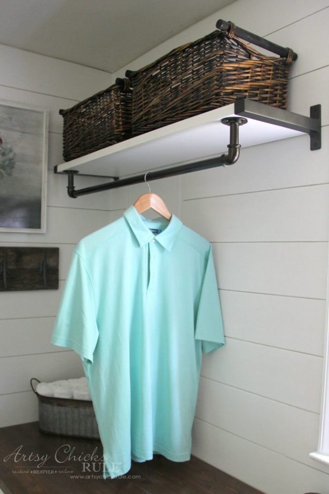 Coastal Farmhouse Laundry Reveal - industrial clothes hanger artsychicksrule.com #coastallaundry #coastaldecor #coastalhome #farmhousedecor #farmhouselaundry #laundryroomideas #industrialdecor #moodboard #coastalprojects #farmhouseprojects #fixerupper