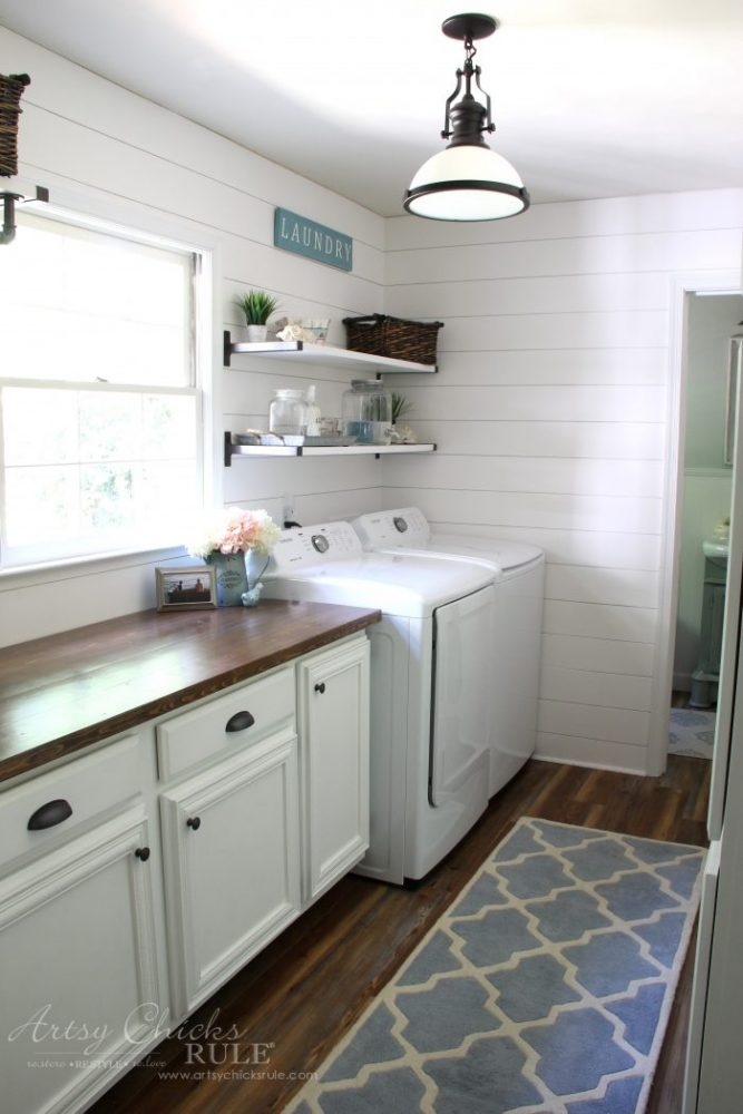 Coastal Makeovers - Coastal Farmhouse Laundry Room Reveal (after photo) artsychicksrule.com #coastallaundry #coastalstyle #coastaldecor #nauticaldecor #laundryroom #diyshiplap #coastaldiy #homediy