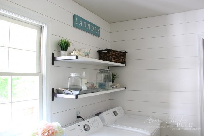 Coastal Farmhouse Laundry Reveal - laundry shelving artsychicksrule.com #coastallaundry #coastaldecor #coastalhome #farmhousedecor #farmhouselaundry #laundryroomideas #industrialdecor #moodboard #coastalprojects #farmhouseprojects #fixerupper