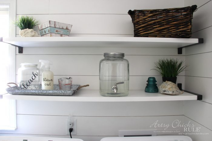 Coastal Farmhouse Laundry Reveal - shelf decor artsychicksrule.com #coastallaundry #coastaldecor #coastalhome #farmhousedecor #farmhouselaundry #laundryroomideas #industrialdecor #moodboard #coastalprojects #farmhouseprojects #fixerupper