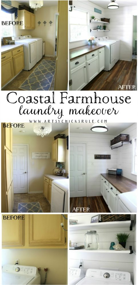 Coastal Farmhouse Laundry Reveal - full before and afters artsychicksrule.com #coastallaundry #coastaldecor #coastalhome #farmhousedecor #farmhouselaundry #laundryroomideas #industrialdecor #moodboard #coastalprojects #farmhouseprojects #fixerupper
