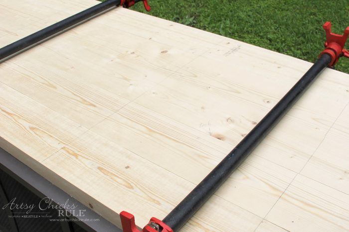 Farmhouse Style and Easy!! How To Make DIY Wood Countertop - glued and clamped artsychicksrule.com #woodcountertops #diywoodcountertop #howtobuildcountertop