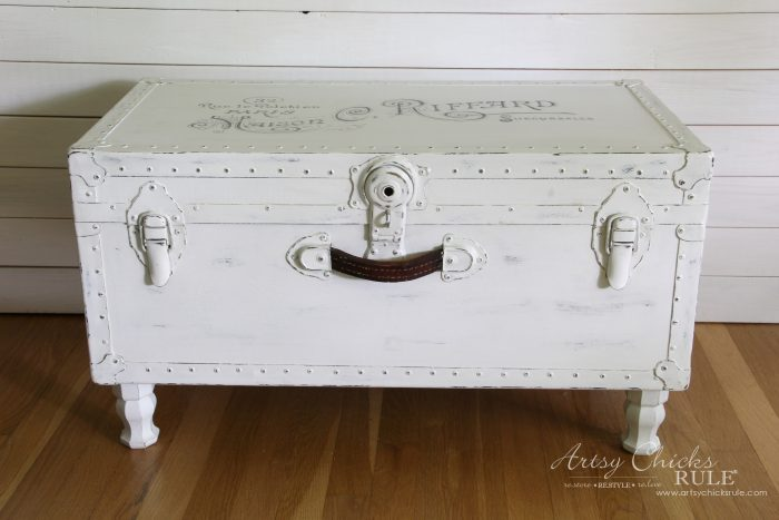 Old Trunk Coffee Table , a THRIFY Makeover! - AFTER - artsychicksrule.com #trunkcoffeetable #oldtrunkmakeover #frenchgraphics #cottagedecor #repurposedtrunk
