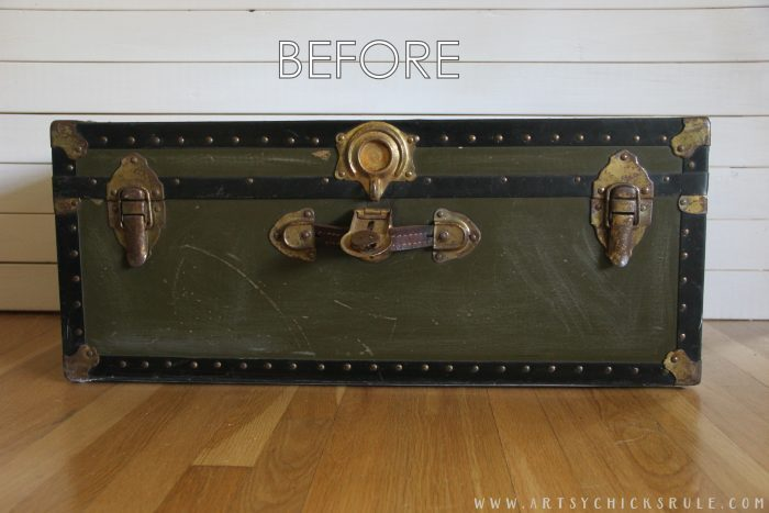 Old Trunk Coffee Table , a THRIFY Makeover! - BEFORE - artsychicksrule.com #trunkcoffeetable #oldtrunkmakeover #frenchgraphics #cottagedecor #repurposedtrunk