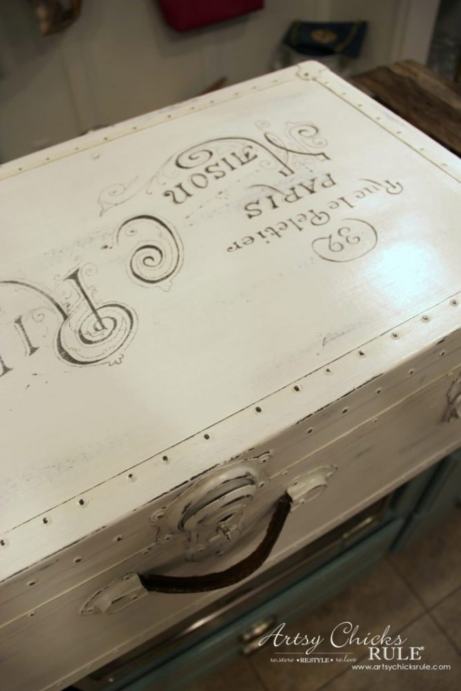 Old Trunk Coffee Table , a THRIFY Makeover! - artsychicksrule.com #trunkcoffeetable #oldtrunkmakeover #frenchgraphics #cottagedecor #repurposedtrunk