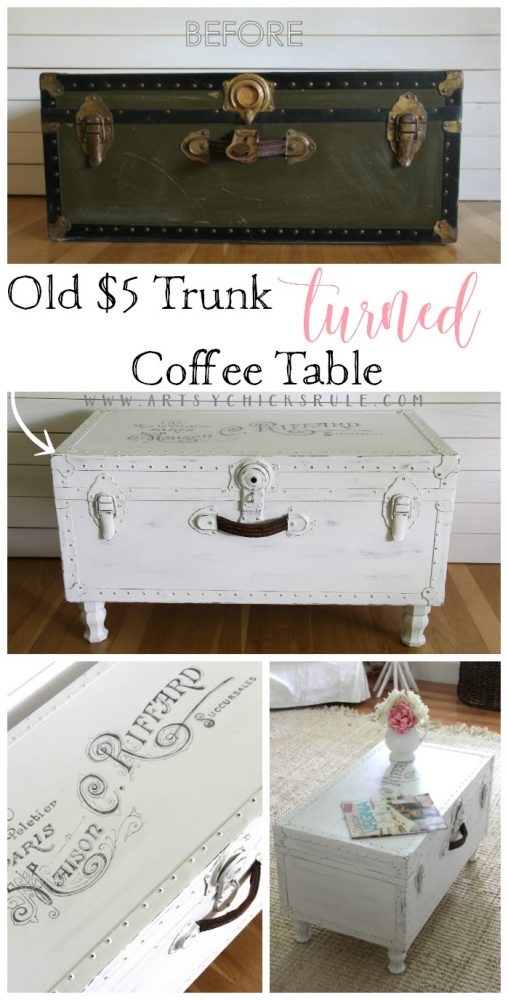 SO Easy!! $5 Old Trunk Coffee Table , a THRIFY Makeover! - artsychicksrule.com #trunkcoffeetable #oldtrunkmakeover #frenchgraphics #cottagedecor #repurposedtrunk