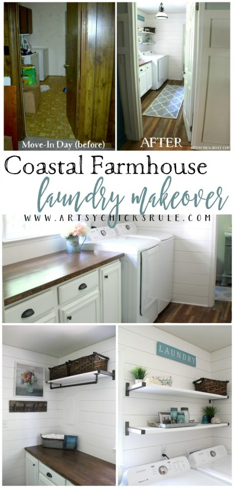 Coastal Farmhouse Laundry Reveal - before and after changes artsychicksrule.com #coastallaundry #coastaldecor #coastalhome #farmhousedecor #farmhouselaundry #laundryroomideas #industrialdecor #moodboard #coastalprojects #farmhouseprojects #fixerupper