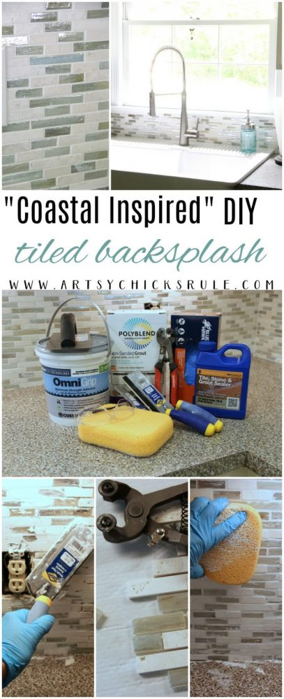 DIY Coastal Inspired Tile Backsplash artsychicksrule.com #tilebacksplash #diybacksplash
