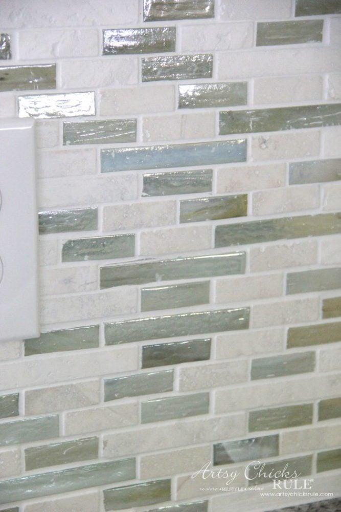 Coastal Inspired DIY Tile Backsplash Tutorial artsychicksrule.com #tilebacksplash #diybacksplash