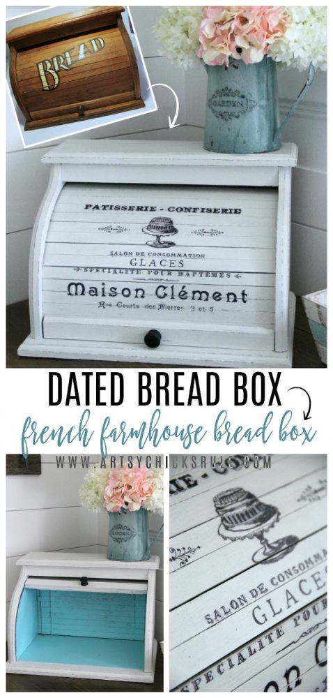 French Farmhouse Bread Box EASY DIY with Paint and Markers! artsychicksrule.com #breadbox #breadboxmakeover #frenchdecor #frenchgraphic