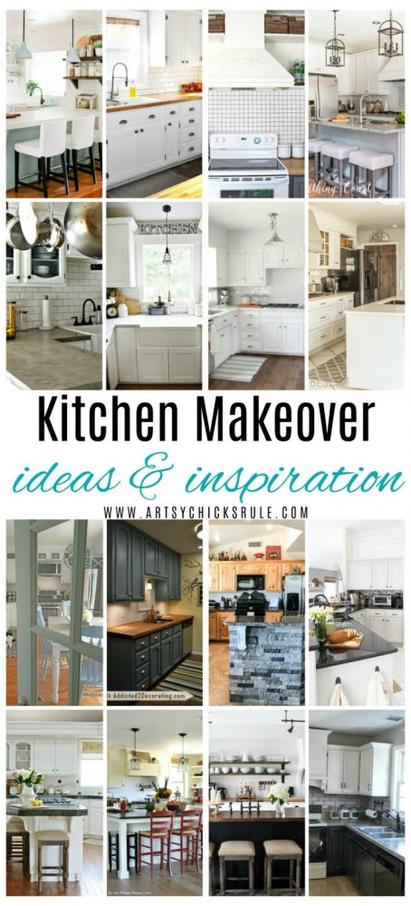 Kitchen Makeovers Ideas & Inspiration!! (Big & Small!) artsychicksrule.com #kitchenmakeovers