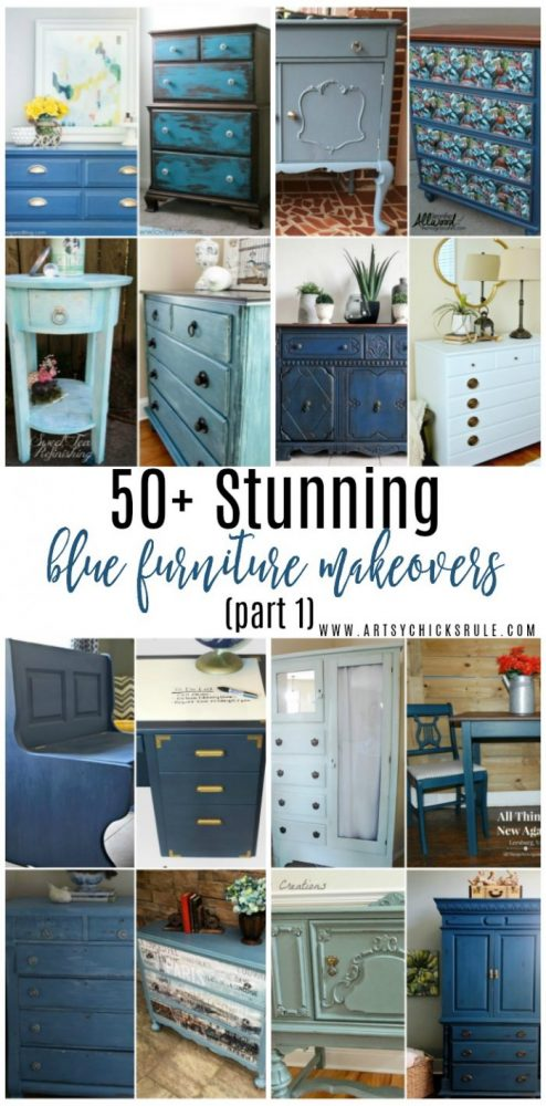 50+ STUNNING Blue Furniture Makeovers Part 1 artsychicksrule.com #bluefurnituremakeovers #bluefurniture