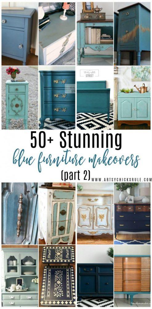50+ STUNNING Blue Furniture Makeover Part 2 artsychicksrule.com #bluefurnituremakeovers