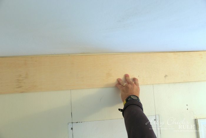 DIY Faux Shiplap - what to do with uneven rooms - artsychicksrule.com #diyfauxshiplap #howtoshiplap #shiplaptutorial #farmhouseshiplap #farmhousestyle #fixerupperstyle #easyshiplap #diyshiplap