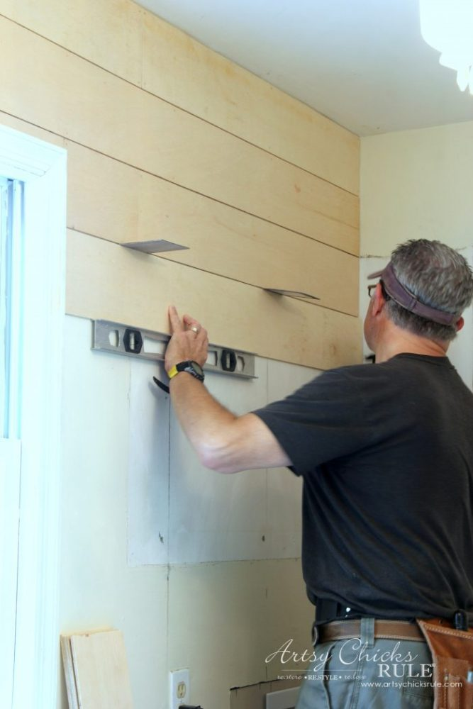 DIY Faux Shiplap - using spacers and levels - artsychicksrule.com #diyfauxshiplap #howtoshiplap #shiplaptutorial #farmhouseshiplap #farmhousestyle #fixerupperstyle #easyshiplap #diyshiplap