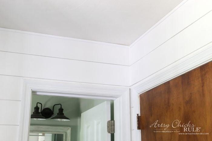 DIY Faux Shiplap - ceiling with trim - artsychicksrule.com #diyfauxshiplap #howtoshiplap #shiplaptutorial #farmhouseshiplap #farmhousestyle #fixerupperstyle #easyshiplap #diyshiplap