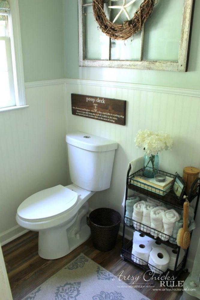 DIY Faux Shiplap - guest bath - artsychicksrule.com #diyfauxshiplap #howtoshiplap #shiplaptutorial #farmhouseshiplap #farmhousestyle #fixerupperstyle #easyshiplap #diyshiplap