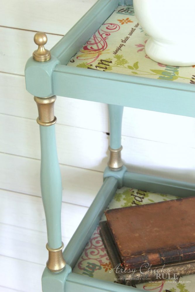 French Fabric Decoupage with Duck Egg Blue Chalk Paint artsychicksrule.com #fabricdecoupage #chalkpaintedfurniture