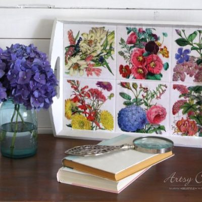 Thrifty Tray Botanical Decoupage Makeover