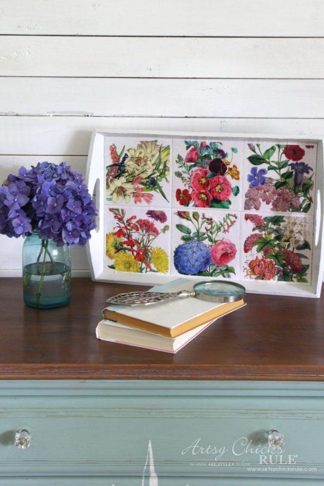 Thrifty Tray Botanical Decoupage Makeover artsychicksrule.com