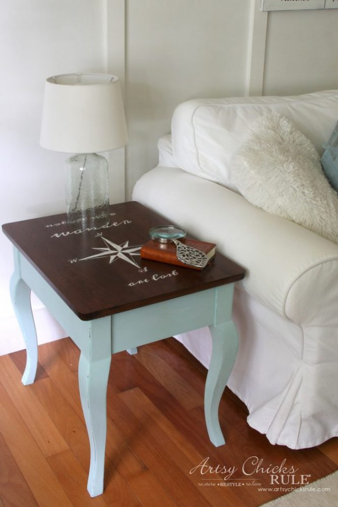 Compass Rose End Table Makeover AND FREE Downloadable Graphic! (with Dixie Belle Paint) artsychicksrule.com #compassrose