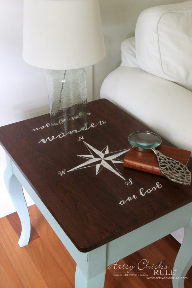 Compass Rose End Table Makeover AND FREE Downloadable Graphic! (with Dixie Belle Paint) artsychicksrule.com