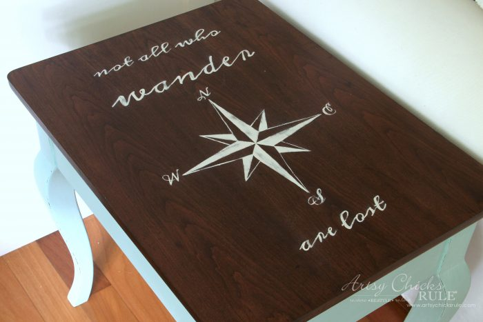 Compass Rose End Table Makeover With Dixie Belle Paint