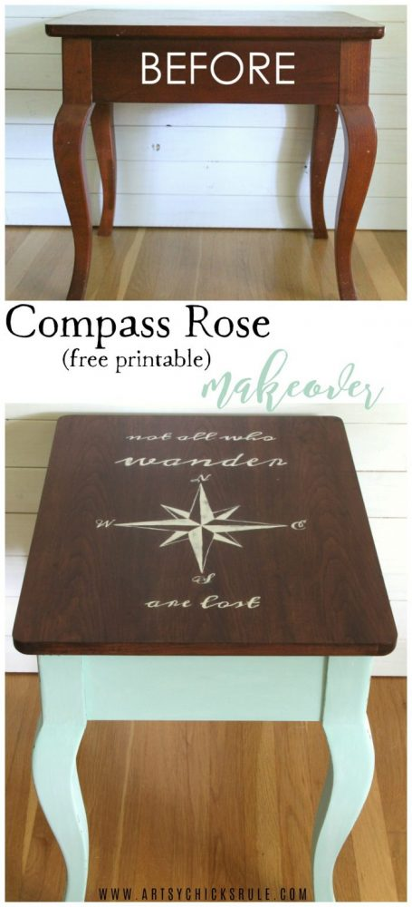 Do this! Compass Rose End Table Makeover AND FREE Downloadable Graphic! (with Dixie Belle Paint) artsychicksrule.com #compassrose