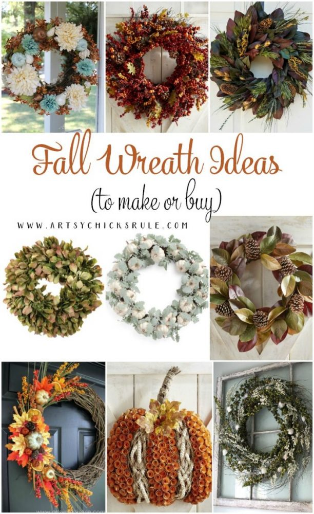 Fall Wreath Ideas & Inspiration! Some you can make and some you can buy! artsychicksrule.com #fallwreathideas