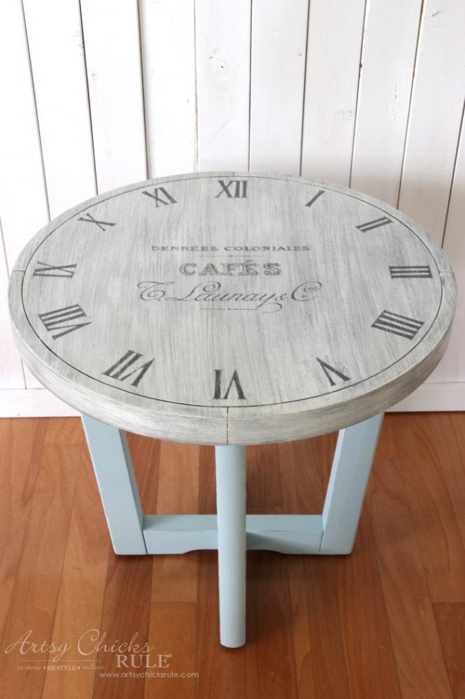 French Country Clock Face Table Makeover artsychicksrule.com #clockface