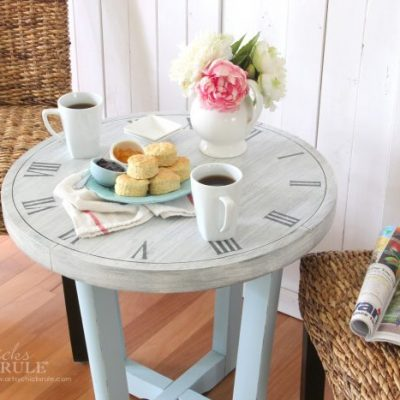 French Country Clock Face Table (free printable to make your own!)