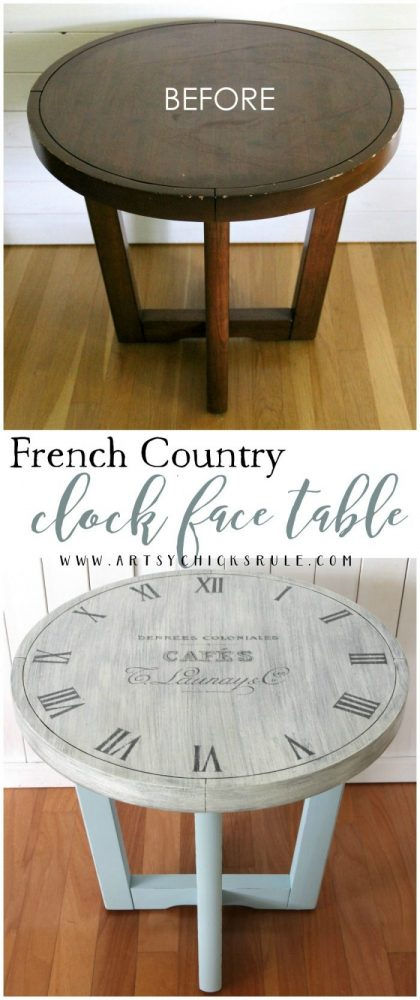 French Country Clock Face Table Makeover artsychicksrule.com #clockface #clockfacetable #paintedfurniture #frenchcountry