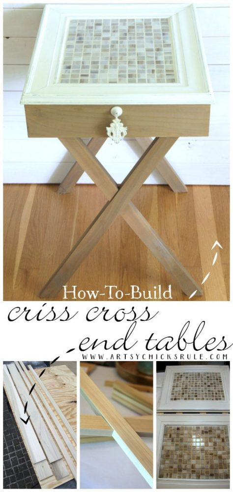 How To Build Criss Cross End Tables (Tutorial) artsychicksrule.com #crisscrosstables
