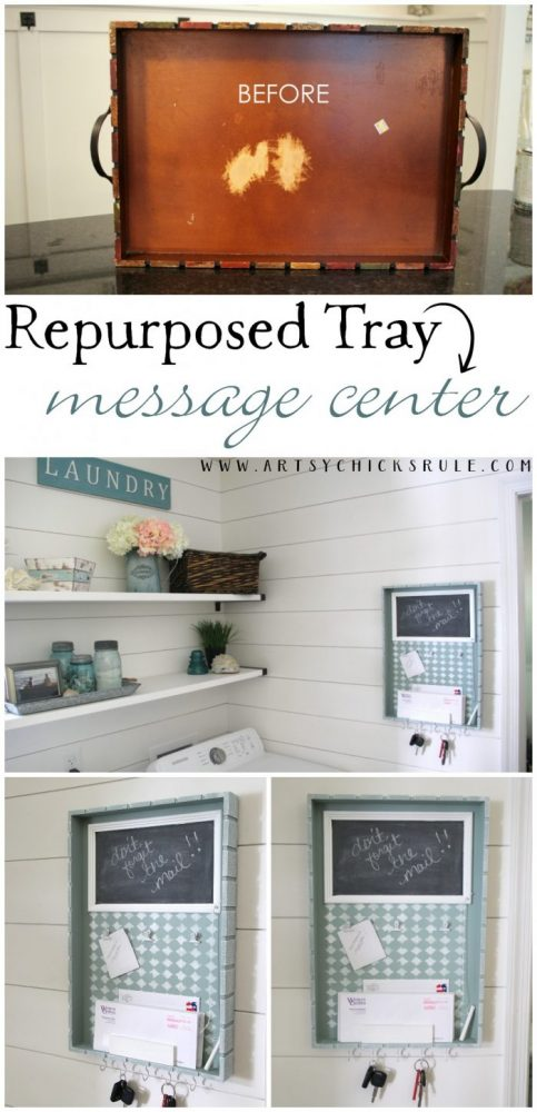 Repurposed Tray Turned Message Center artsychicksrule.com
