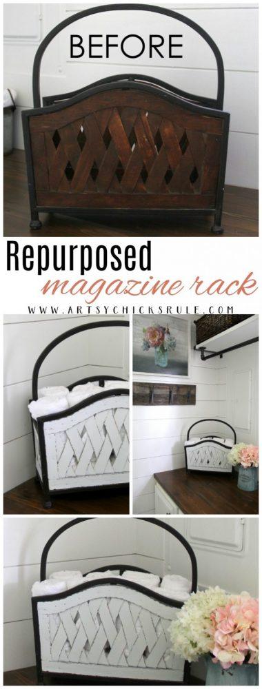 Repurposed Magazine Rack artsychicksrule.com